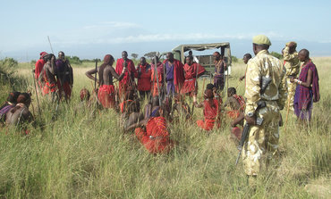 Community scouts on patrol in the Greater Kilimajaro Landscape (Photo: African Wildlife Foundation)