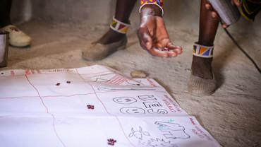 Members of the Olderkesi Conservancy in Kenya scoring strategies for engaging communities in tackling IWT for effectiveness (Photo: Micah Conway)