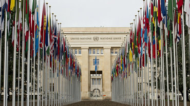 Flags outside the Palais des Nations, Geneva